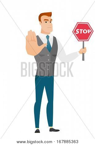 Caucasian businessman showing stop road sign. Full length of businessman holding stop road sign. Serious businessman with stop road sign. Vector flat design illustration isolated on white background.
