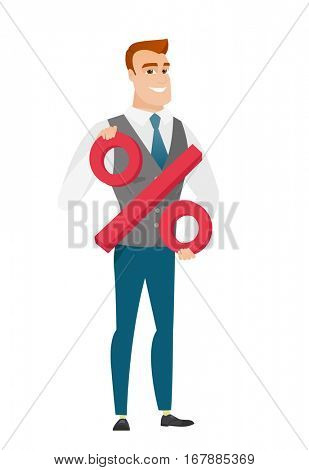 Caucasian business man holding percent sign. Full length of business man holding percent sign. Cheerful business man with percent sign. Vector flat design illustration isolated on white background.