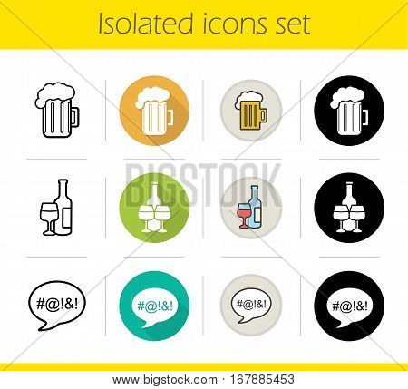 Alcohol addiction icons set. Flat design, linear, black and color styles. Foamy beer mug, wine glasses and bottle, dirty language. Alcoholism isolated vector illustrations