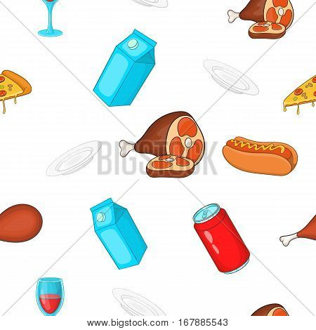Quick snack pattern. Cartoon illustration of quick snack vector pattern for web