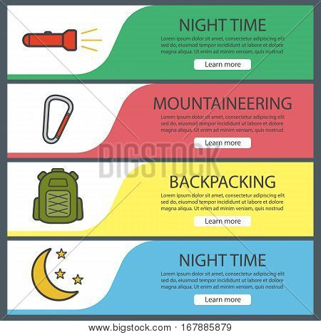 Hiking and mountaineering banner templates set. Easy to edit. Flashlight, carabiner, tourist's backpack, moon and stars. Website menu items. Color web banner. Vector headers design concepts