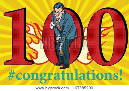 Congratulations to the 100 anniversary event celebration. Happy man opens a bottle of champagne. Vintage pop art retro vector illustration