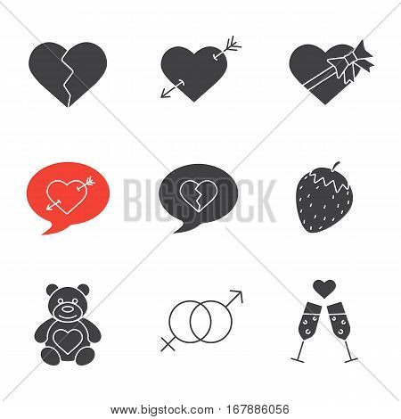 Valentine's Day icons set. February 14 silhouette symbols. Heartbreak, love messages, sex and erotic symbols, champagne, teddy bear, arrow piercing heart, candy box. Vector isolated illustration