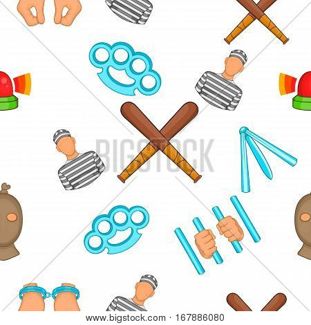 Crime pattern. Cartoon illustration of crime vector pattern for web