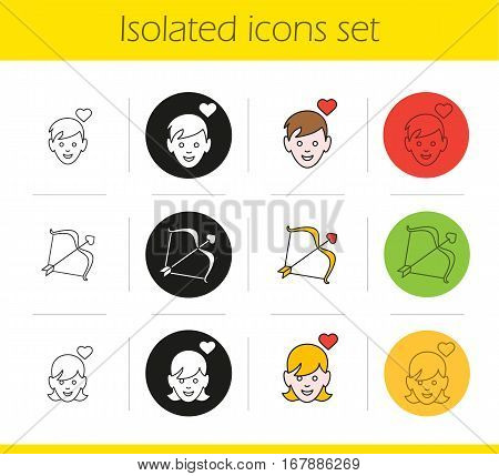 Valentine's Day icons set. Linear, black and color styles. Enamoured boy and girl, Cupid's bow and arrow. Isolated vector illustrations