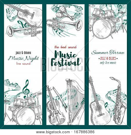 Banners with musical instruments. Vector sketch design for jazz music festival. Vertical set of sax or saxophone and clef note stave, harp and trumpet, maracas and drums kit, acoustic guitar and piano with violin for live sound concert