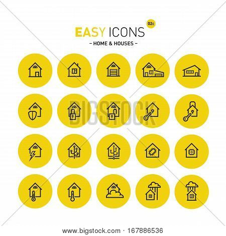 Vector thin line flat design icons set for home and connected themes