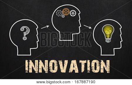Innovation Concept - Group Of Three People With Question Mark, Cogwheels And Light Bulb On Chalkboar