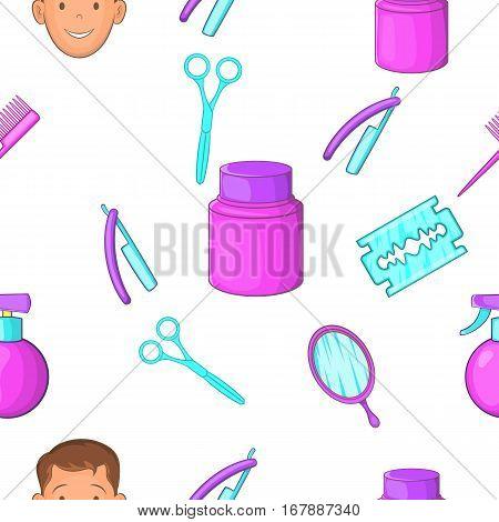 Barber pattern. Cartoon illustration of barber vector pattern for web