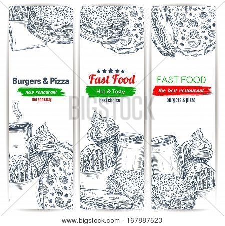 Fast food sketch of burger hamburger or cheeseburger, hot dog sandwich, french fries and pizza, hot coffee cup and soda drink can, ice cream dessert. Vector vertical banners set design for fastfood restaurant delivery or takeaway