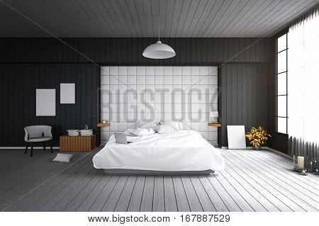 3D rendering : illustration of big spacious modern bedroom in soft light color.big comfortable double bed in elegant classic modern bedroom.interior design of house.modern wooden tile house