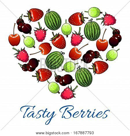 Berries and fruits poster in heart shape. Vector fresh garden strawberry, cherry, forest raspberry, black currant or redcurrant, juicy gooseberry and sweet watermelon. Ripe farm berries harvest