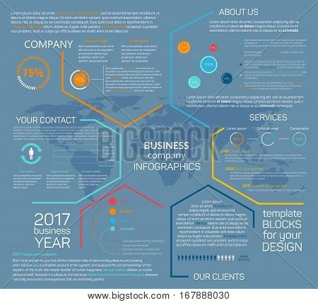 Company infographics with business charts, diagrams, information blocks. Vector template for marketing development, financial report analysis, media market research and forecast plans or employee staff service presentation flat design
