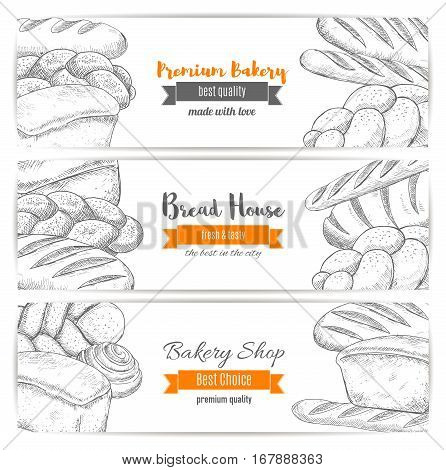 Bakery banners set. Bread sketch of wheat bagel, white wheat toast bread, rye loaf brick or loaf, sweet sesame roll bun and croissant, braided bread and fresh baked pretzel. Vector horizontal design for premium pastry baker shop