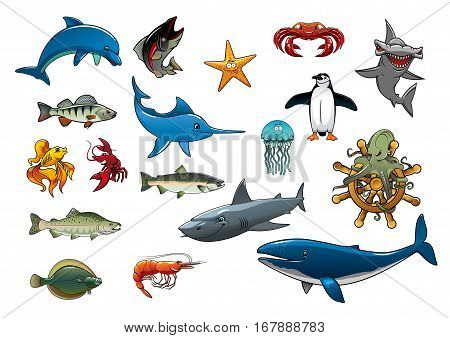 Fish and sea animals creatures of cartoon dolphin, tuna, star fish, lobster crab and shrimp, hammerhead shark, marlin or swordfish, jellyfish, penguin, trout and salmon, flounder, octopus on ship helm and whale. Vector isolated icons