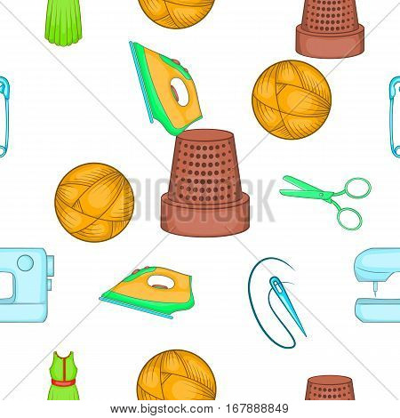 Embroidery kit pattern. Cartoon illustration of embroidery kit vector pattern for web