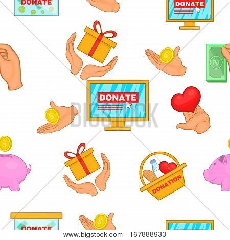 Donation pattern. Cartoon illustration of donation vector pattern for web