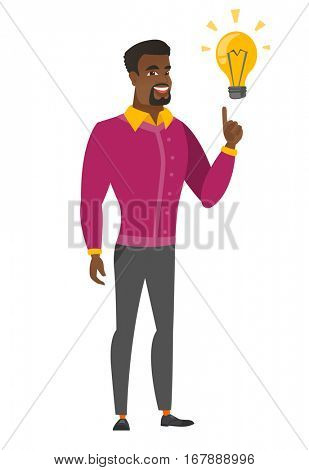 African-american businessman pointing at business idea bulb. Full length of businessman having a business idea. Business idea concept. Vector flat design illustration isolated on white background.