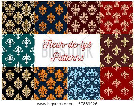 Fleur-de-lis seamless patterns set of royal lily flower. Imperial floral fleur-de-lys pattern and ornate motif tracery tiles. Vector flowery background of heraldic flourish ornament. Interior design embellishment backdrop