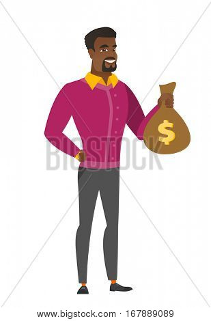African-american businessman showing money bag with dollar sign. Full length of businessman with money bag. Businessman holding money bag. Vector flat design illustration isolated on white background.