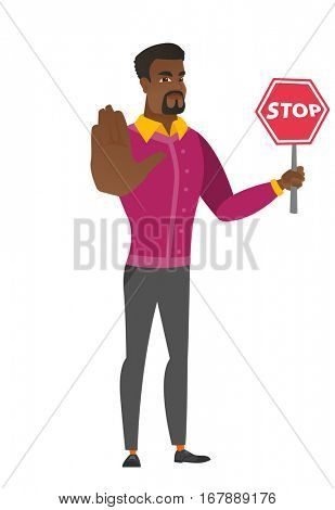African businessman showing stop road sign. Full length of businessman holding stop road sign. Serious businessman with stop road sign. Vector flat design illustration isolated on white background.