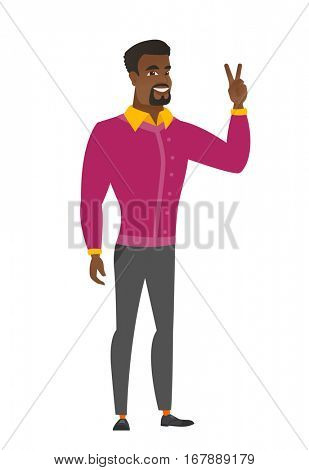 African business man showing the victory gesture. Businessman showing the victory sign with two fingers. Businessman with victory gesture. Vector flat design illustration isolated on white background