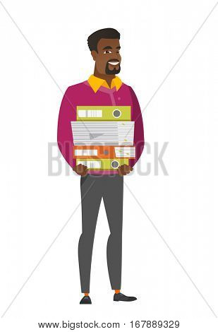 African businessman holding pile of folders and papers. Full length of smiling businessman with folders. Businessman with folders and files. Vetor flat design illustration isolated on white background
