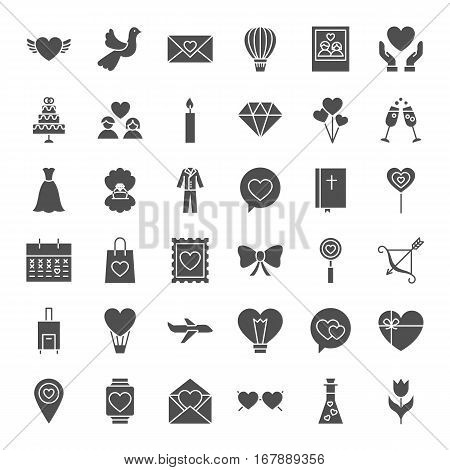 Love Heart Solid Web Icons. Vector Collection of Website Wedding Glyphs.