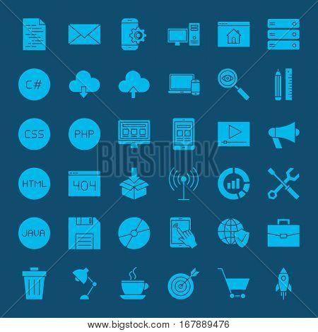 Programming Glyphs Website Icons. Vector Set of Modern Coding and Web Development Symbols.