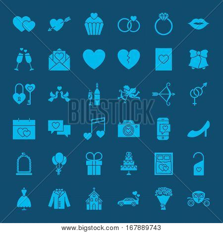 Save the Date Web Glyphs. Vector Set of Wedding and Love Symbols.