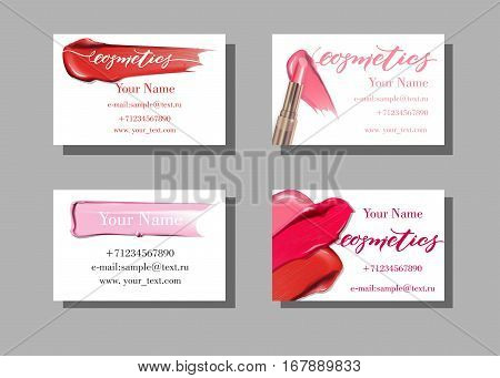 Makeup artist business card. Vector template with makeup items pattern - Smears lipstick. Fashion and beauty background. Template Vector.