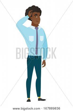 Caucasian businessman scratching his head. Full length of thoughtful businessman scratching head. Puzzled businessman scratching his head. Vector flat design illustration isolated on white background.