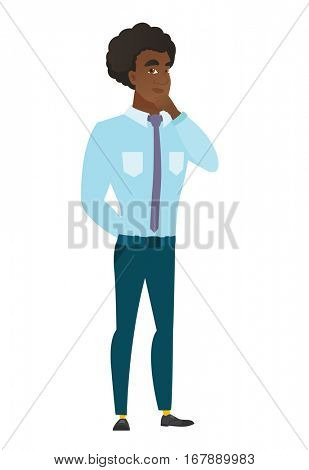 Young caucasian businessman thinking. Full length of thinking businessman with hand on chin. Businessman thinking and looking to the side. Vector flat design illustration isolated on white background.