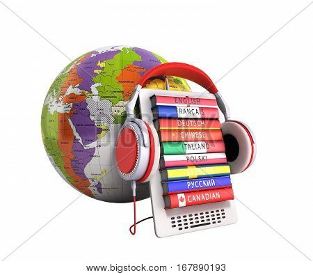 E-boock Whith Globe Audio Learning Languages 3D Render No Shadow