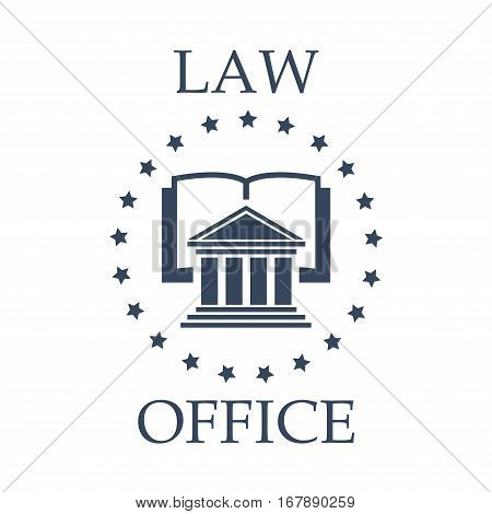 Juridical or law icon for advocate or lawyer office. Vector emblem of advocacy or legal company. Badge with symbol of roman atrium, code book or lawbook and stars wreath for attorney or notray barrister service center