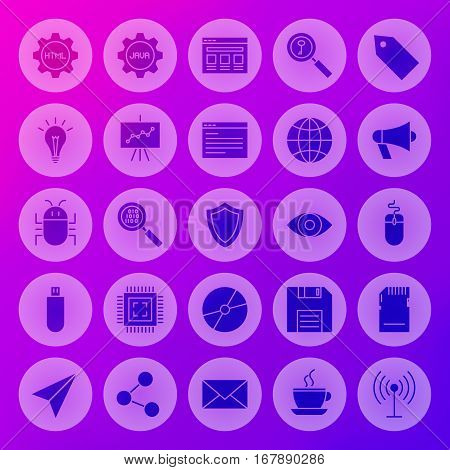 Solid Circle Web Computer Icons. Vector Illustration of Programming Glyphs over Blurred Background.