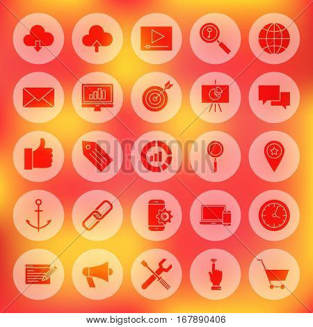 Solid Circle Web Development Icons. Vector Illustration of SEO Glyphs over Blurred Background.