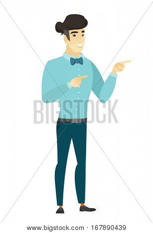 Young asian business man pointing to the side. Business man pointing his finger to the side. Business man pointing to the right side. Vector flat design illustration isolated on white background.