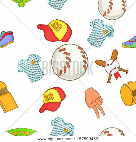 Baseball pattern. Cartoon illustration of baseball vector pattern for web
