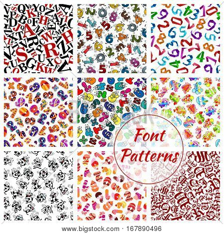 Font letters and numbers vector seamless patterns set. ABC alphabet of fairy cartoon and gothic writing symbols of sport balls, origami, birthday numerals of desserts and digits character. Red, green and yellow, blue and red background tiles