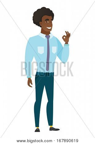 Caucasian smiling businessman showing ok sign. Young cheerful businessman making ok sign. Successful happy businessman gesturing ok sign. Vector flat design illustration isolated on white background