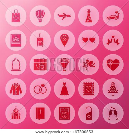 Solid Wedding Circle Icons. Vector Illustration of Love Glyphs over Blurred Background.