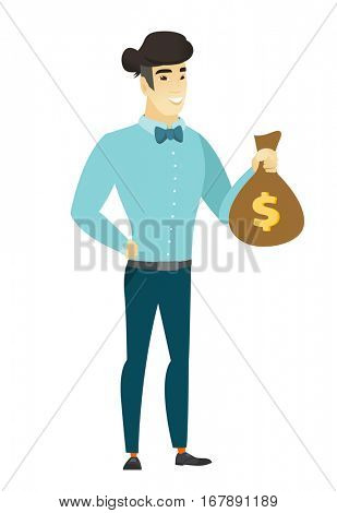 Asian  businessman showing money bag with dollar sign. Full length of young businessman with money bag. Businessman holding money bag. Vector flat design illustration isolated on white background.