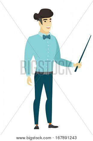 Asian businessman holding pointer stick. Full length of young businessman with pointer stick. Businessman pointing with pointer stick. Vector flat design illustration isolated on white background.
