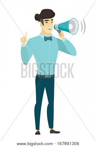 Businessman with a megaphone making an announcement. Businessman making an announcement through megaphone. Business announcement concept. Vector flat design illustration isolated on white background.