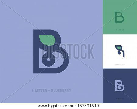 Line style logo template with letter b and blueberry with leaf on purple background