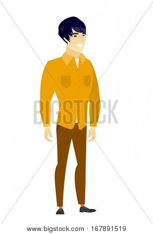 Young asian confident businessman. Full length of smiling confident businessman. Businessman standing in a pose signifying confidence. Vector flat design illustration isolated on white background.