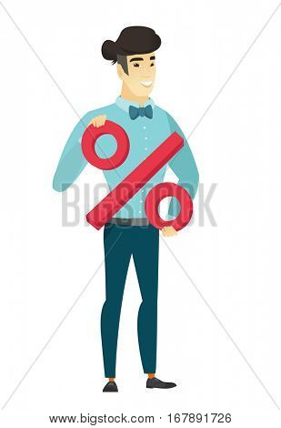 Asian  business man holding percent sign. Full length of business man holding percent sign. Cheerful business man with percent sign. Vector flat design illustration isolated on white background.