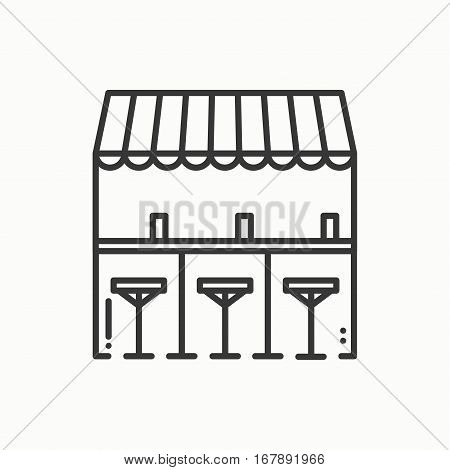 Bar counter with stools thin line icon. Street food retail. Mobile coffee house, bar, shop. Cafe, alcohol drink. Vector linear style icon. Isolated illustration. Symbols. Object. Sale