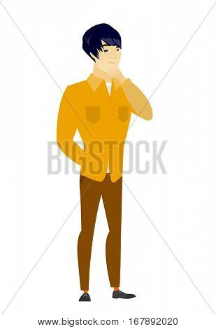 Young asian  businessman thinking. Full length of thinking businessman with hand on chin. Businessman thinking and looking to the side. Vector flat design illustration isolated on white background.